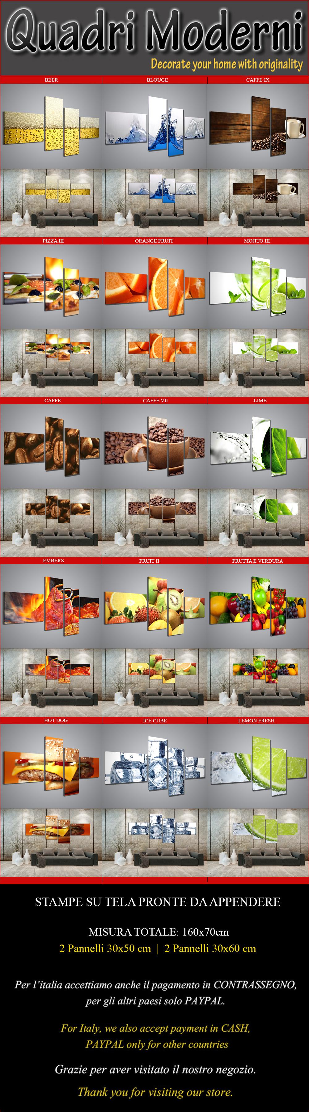 Quadri moderni food drink 160x70 cm composizione con 4 for Ebay quadri